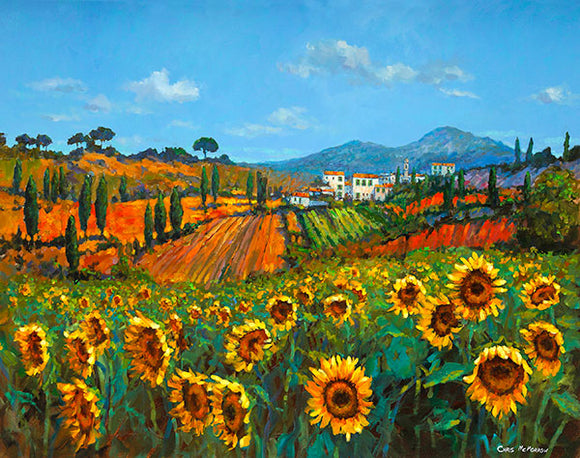 A painting of sunflowers in a Tuscan meadow in Italy
