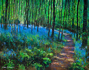 A landscape painting featuring bluebells in a woodland setting .