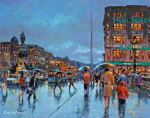 A painting of a view tha looks towards the Spire on O'Connell Street