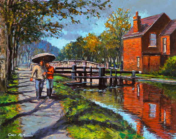 A painting of a couple walking under an umbrella by the canal