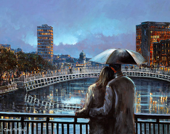 A painting of a pair of lovers on a bridge over the River LIffey