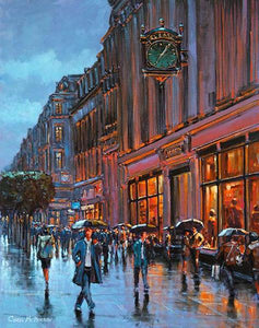 A painting of a couple meeting under Clery's clock in O'Connell Street, Dublin