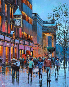 A painting of O'Connell Street near Easons Clock