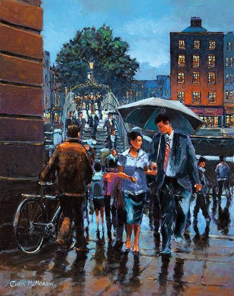 A painting of people walking under Merchants Arch