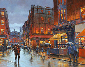 A painting of rainy reflections on South William Street