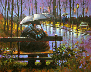Painting Print Of A Couple Under An Umbrella Embracing On Park Bench