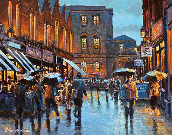 A painting of Castlemarket, Dublin in the early evening