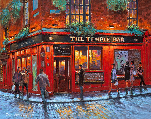 painting print of the temple bar pub dublin artist chris mcmorrow. Black Bedroom Furniture Sets. Home Design Ideas