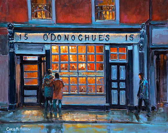 A painting of O'Donoghues Pub, Merrion Row, Dublin