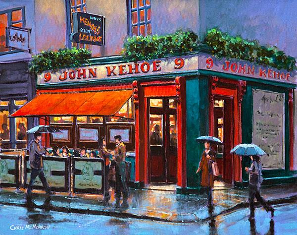 painting print of kehoes pub on corner of south anne street dublin. Black Bedroom Furniture Sets. Home Design Ideas
