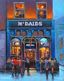 A painting of Mc Daids pub , Harry Street, Dublin