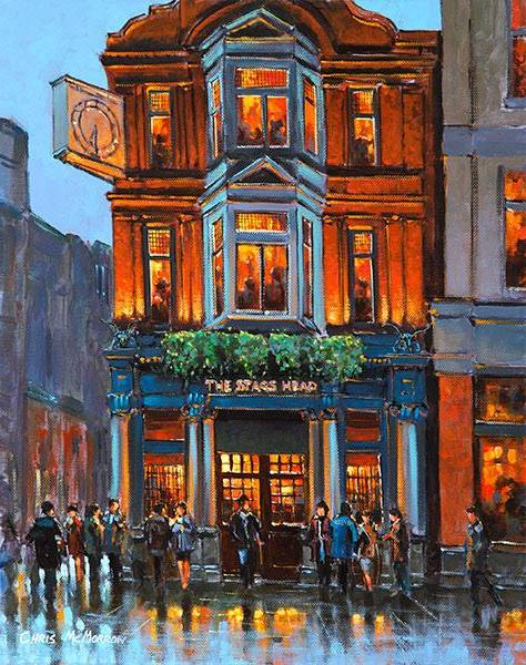 A painting of the Stags Head Pub, Dublin