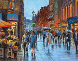 A painting of a crowded busy Grafton Street on a rainy Saturday afternoon in Dublin's city centre. On the left the flower sellers sell their wares safe from the rain under the orange awning canopy.