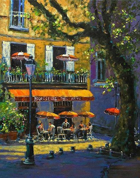 A painting of a cafe scene in Provence, France
