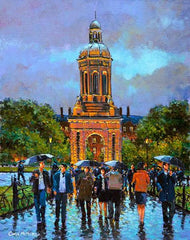 A painting of the Campanile in Trinity College , Dublin