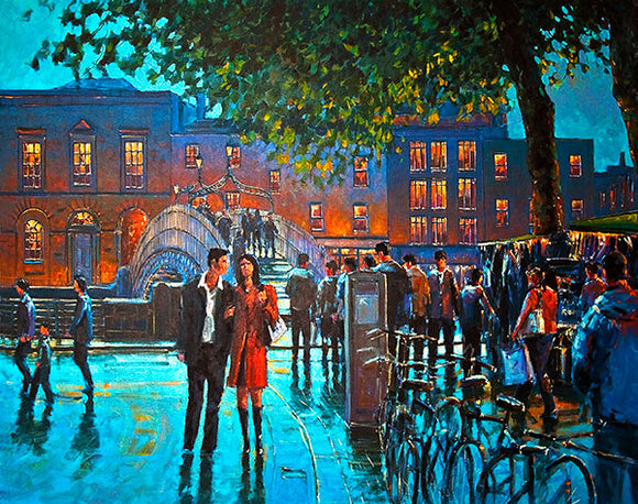 A painting of a couple walking on a Dublin street