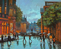 A painting of reflections on College Green, Dublin