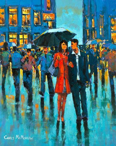 A painting of a couple under an umbrella in the city