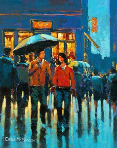 A painting of a couple walking in town heading for a coffee shop