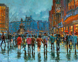 Painting of O'Connell Street crowds in Dublin city centre in the evening