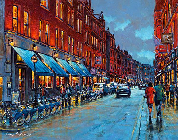A painting of Exchequer Street , Dublin city