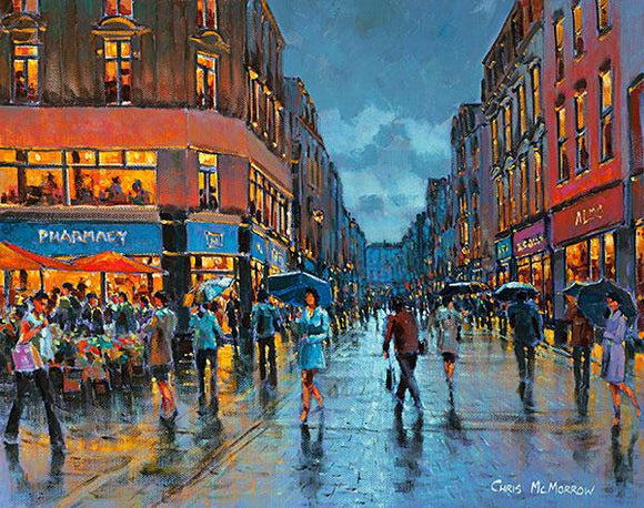 A painting of shoppers in Grafton Street