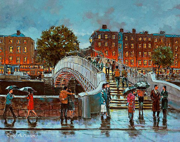 A painting of people crossing the Halfpenny Bridge