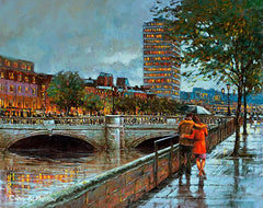 A painting of a couple take a romantic walk under an umbrella beside the River Liffey, Dublin