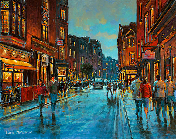A painting of a view looking towards South William Street
