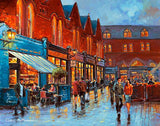 A painting of diners and people in Castlemarket