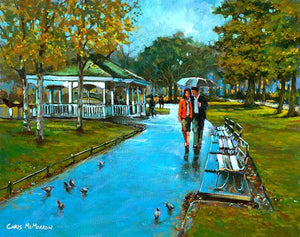 A painting of a romantic couple walking under an umbrella in Stephens Green, Dublin