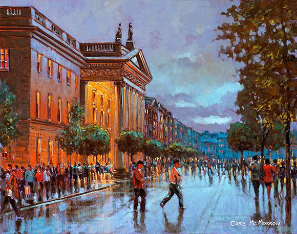A painting of a wet evening in Dublin