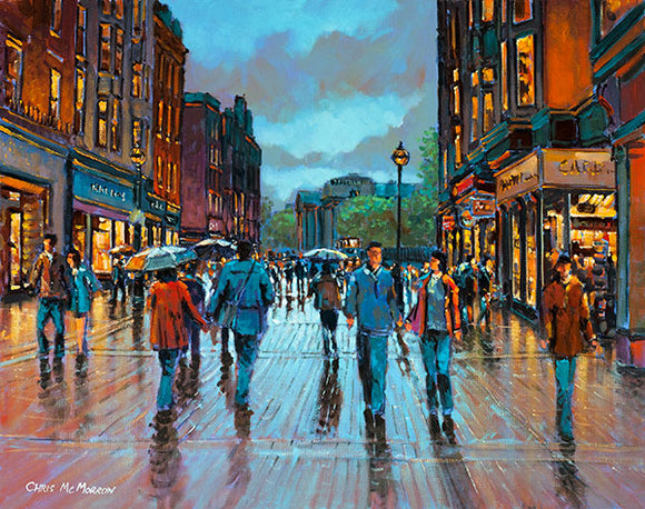 A painting of people walking on Grafton Street, Dublin