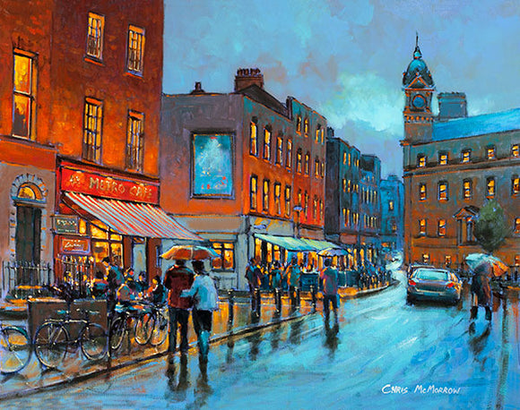 A painting of an evening on South William Street