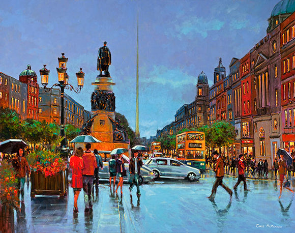 A painting of people and traffic crossing O'Connell Street