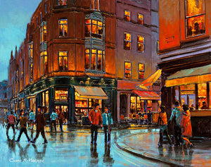 A painting of cafes on South William Street corner