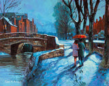 A painting of a romantic couple walking by the canal in the snow