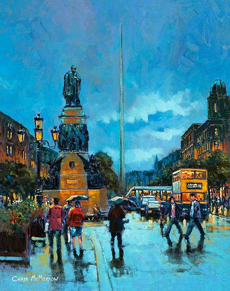 A painting of a view of the Spire on O'Connell Street