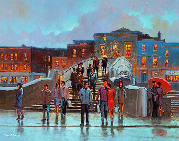 A painting of people crossing a bridge in Dublin city
