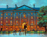 A painting of a view from within Trinity College