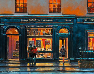 A painting of Breretons Jewellers on Capel Street, Dublin.
