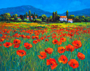 A painting of a poppy field in Provence, France