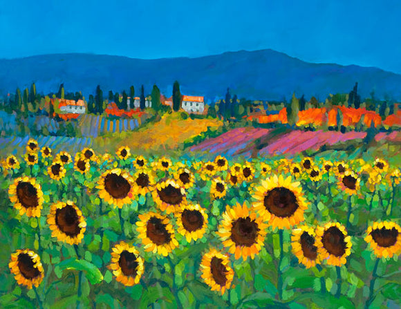 A painting of fields of Sunflowers in Tuscany , Italy