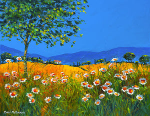 A painting of daisies in a field in Summer time in France
