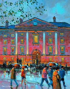 A painting of the reflections outside Trinity College,Dublin