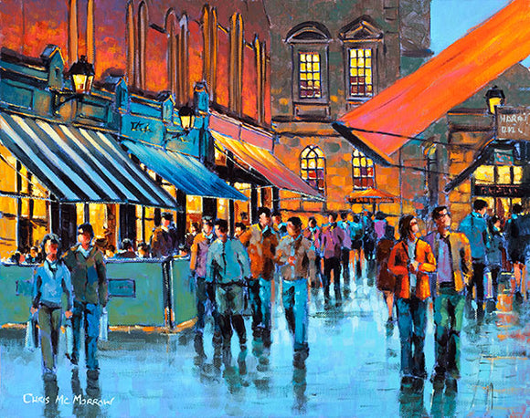 A painting of people strolling through Castlemarket, Dublin