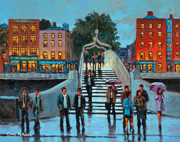 A painting of a crowd waiting at the Halfpenny Bridge