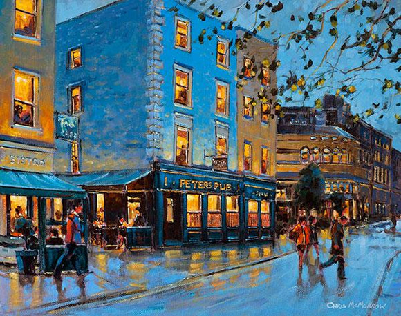 A painting of people at Peters Pub, South William Street, Dublin