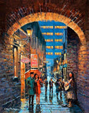 A painting of a busker playing at Merchants Arch, Dublin