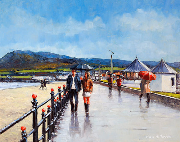 On The Promenade   481A painting of a couple walking under an umbrella on the promenade in Bray, Co Wicklow